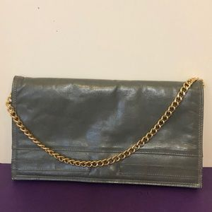 3/$15 Grey leather clutch gold chain 6.5 x 12.5